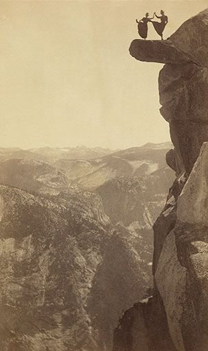 Kitty Tatch and Katherine Hazelston were waitresses in Yosemite's Sentinel Hotel in the 1890s. They danced atop Overhanging Rock at Glacier Point for George Fiske's famous photograph.: