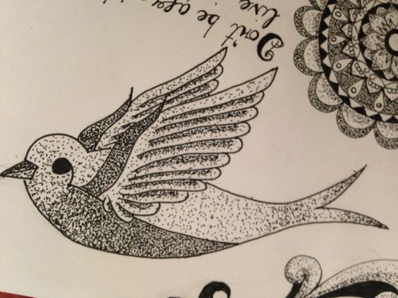 Dot work, black and grey swallow / done free hand