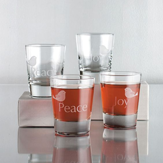 Peace & Joy Holiday Drinking Glasses, Set of 4 | The Company Store