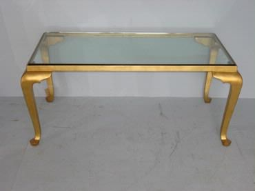 classic cabriole leg coffee table in antique gold leaf finish with glass top furniture. Black Bedroom Furniture Sets. Home Design Ideas