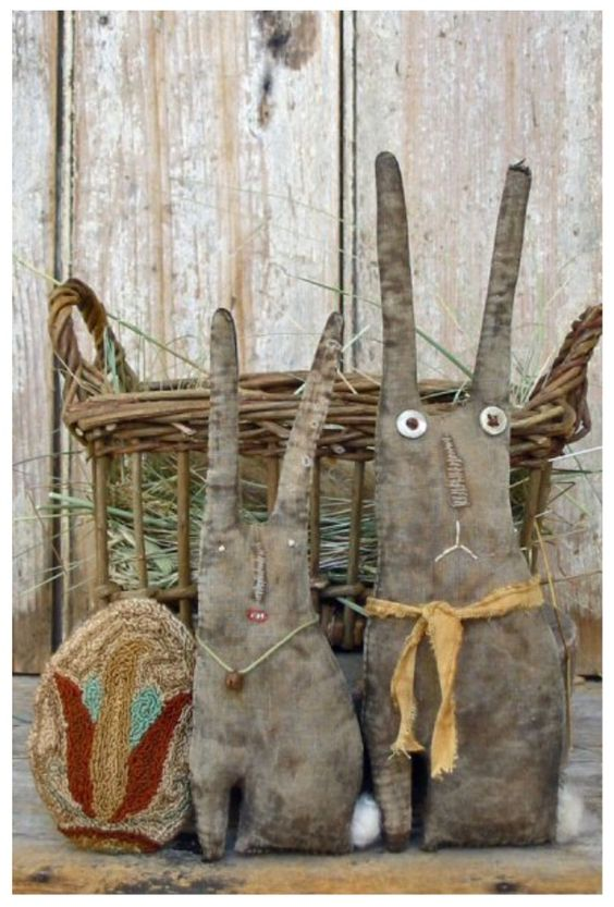 Springtime Basket Primitive Bunnies- Pineberry Lane