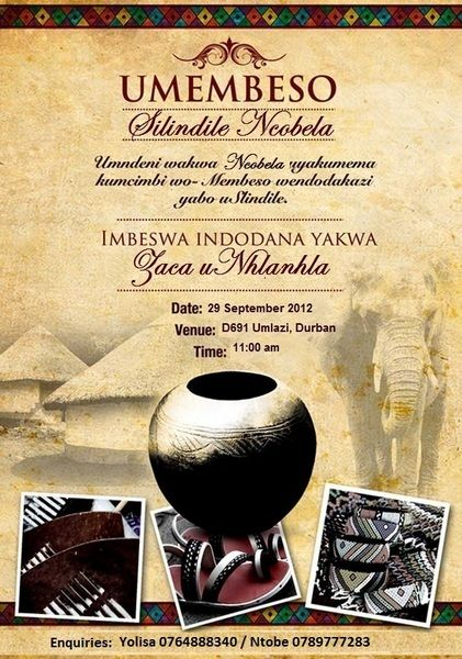 South African Traditional wedding invitation Card Umembeso Card – Traditional Wedding Invitation Card