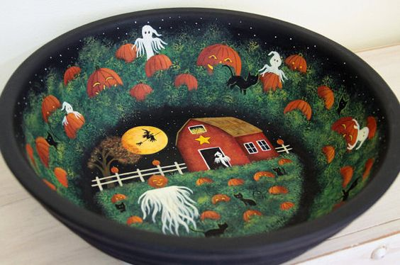 Halloween Folk Art Hand Painted Large Wood by RavensBendFolkArt
