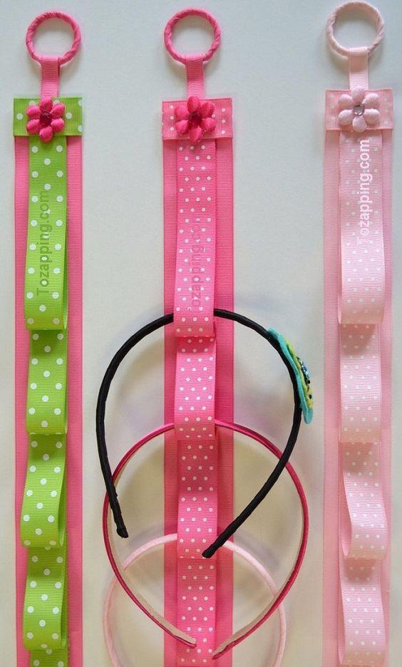 Idea para organizar cintillos loisirs creatifs for Poner ganchos cortinas