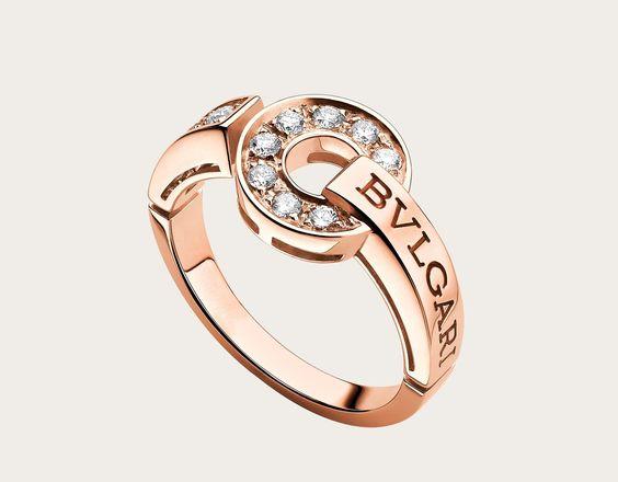 318600円ブルガリ・ブルガリ リング。パヴェダイヤモンドをあしらった18Kピンクゴールド製。 image-1