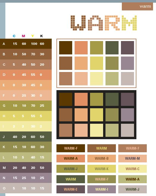 Warm color schemes, color combinations, color palettes for print (CMYK) and Web (RGB + HTML)