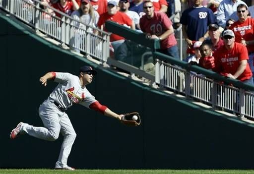Game 3 of the NLDS- Carlos Beltran makes a great catch  10-10-12