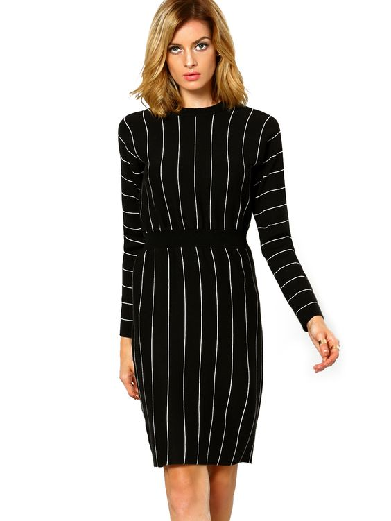 Shop Black Stand Collar Vertical Stripe Dress online. SheIn offers Black Stand Collar Vertical Stripe Dress & more to fit your fashionable needs.