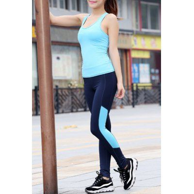 $15.08 (Buy here: http://appdeal.ru/clbm ) Chic U Neck Sleeveless Hit Color Cut Out Women's Activewear Suit for just $15.08
