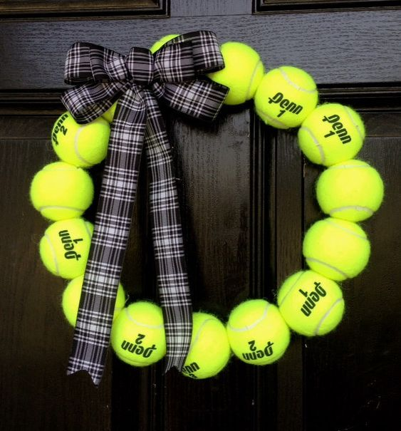 A personal favorite from my Etsy shop https://www.etsy.com/listing/151112302/tennis-ball-wreath-tennis-coach-pro