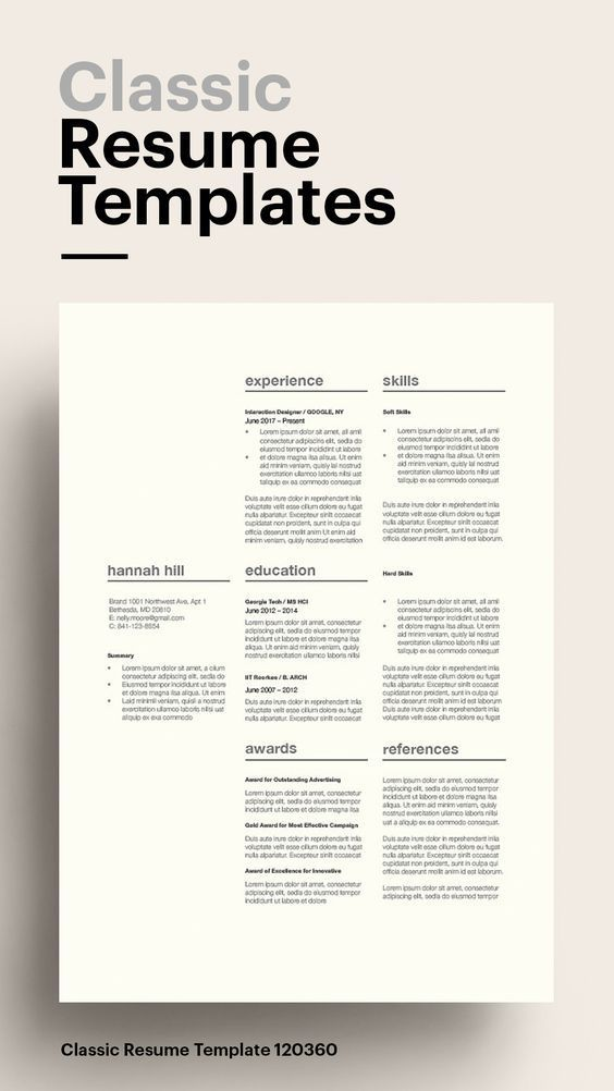 Classic Resume Template Resume Template Best Resume Template Minimalist Resume Template