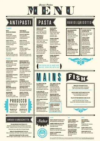 Jamies Italian menu. Really great design, except for the top line where Jamies Italian isnt centre aligned.