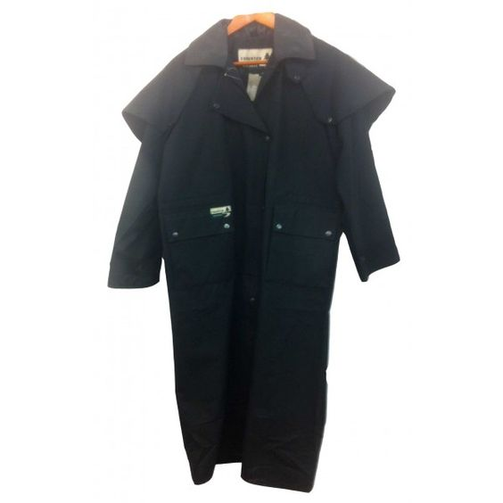 Check out Lange riding coat in zwart canvas (oilskin) $169.95 euro on http://www.westernpoint.com/nl/australian-australisch-australien/jassen-coats-vestes/lange-riding-coat-in-zwart-canvas-oilskin.html