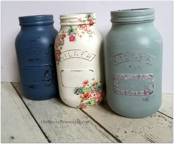 How to Upcycle Kilner Jars or any Jars | The Messy Brunette - featuring a folk it dotty version - we love!