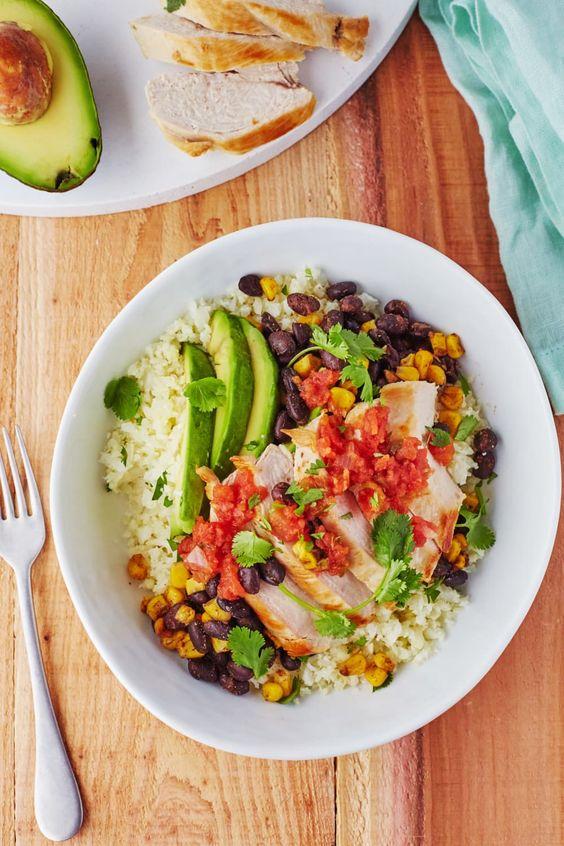 Cauliflower Rice Chicken Burrito Bowls