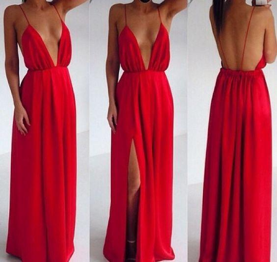 Vestido longo decotado vermelho moda