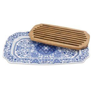 Blue Room Challah Tray With Wooden Insert