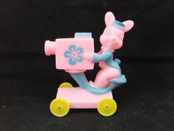 Vintage Rosbro Plastic Easter Toy, Bunny W/ TV Camera On Wheels, Blue Pink