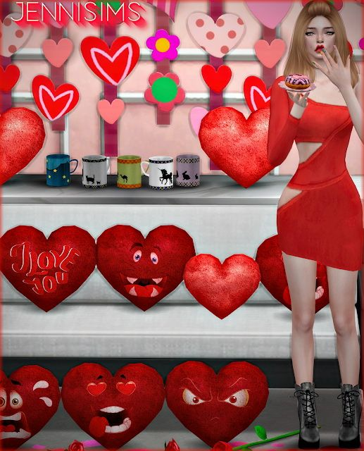 Jenni Sims Decorative Clutter Valentine Day Heart Pillows And Cups Sims 4 Downloads Sims 4 Sims 4 Seasons Sims