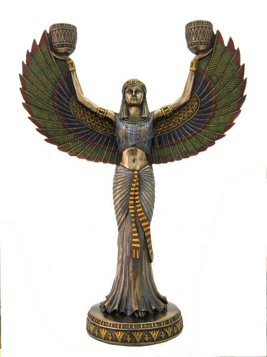 Isis Candelabra Egyptian Pagan Goddess Statue Candle