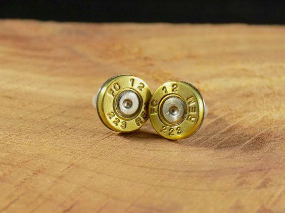 223 Brass Bullet Stud Earrings  E008 by DebsArtisanJewelry on Etsy