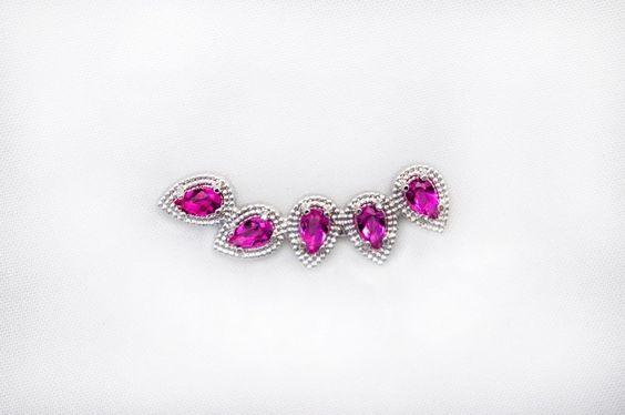 Brinco ear cuff gota rosa - B168 - Comprar em Bordot