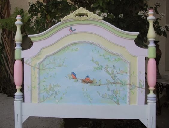 Adorable painted headboard for your little sleeping beauty...