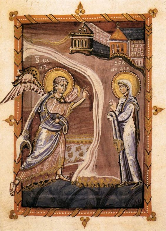 The Annunciation Hitda Codex c. 1020 Illumination Hessische Landesbibliothek, Darmstadt