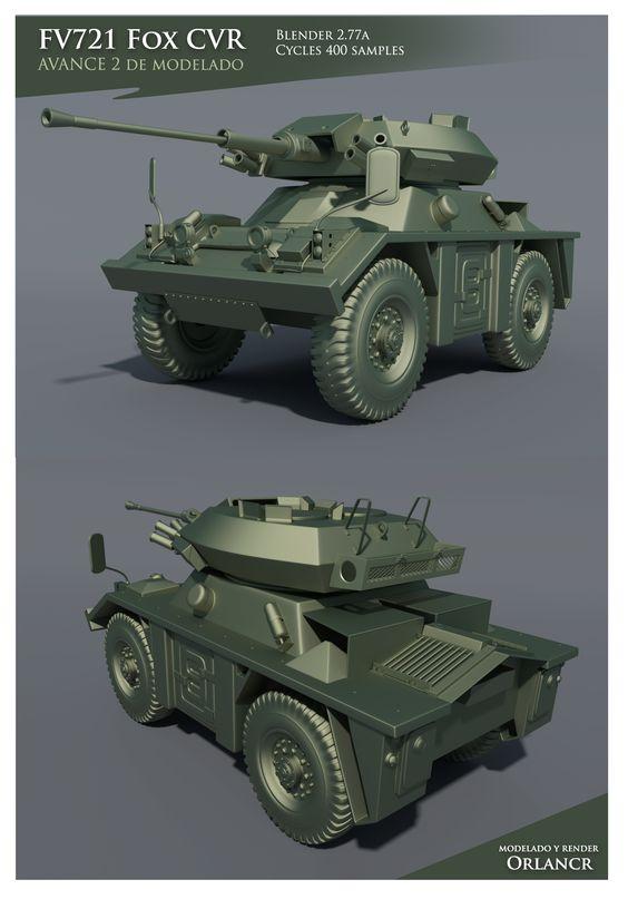 Modelado sin texturas de un FV721 Fox CVR creado en Blender 2.77a y renderizado en Cycles con 400 samples.
