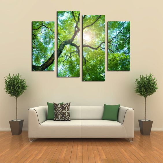 4 pannelli (no frame) verde albero dipinto su tela foto arte della parete della…