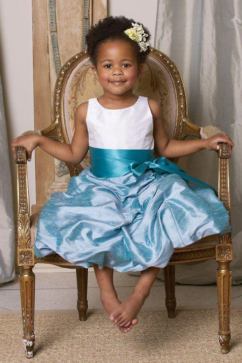 A-line sleeveless taffeta dress for flower girl