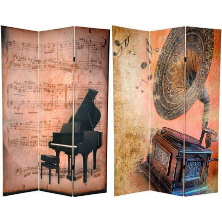 6' Tall Double Sided Music Room Divider, Piano/Phonograph, Multicolor
