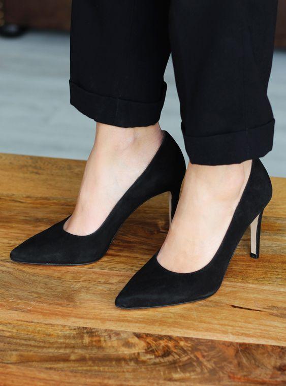 Escarpins cuir daim noir talon haut fabriqués main