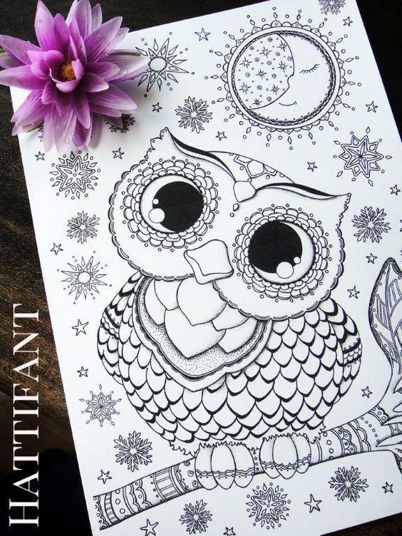 MORE Owl Coloring Pages for Grown Ups | Colorante, Búhos bebés y ...