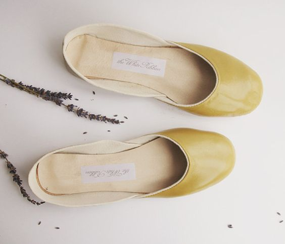Olive Leather and Suede Ballet Flats Uncovet