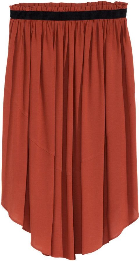 H&M - Flared Skirt - Dark orange - Ladies