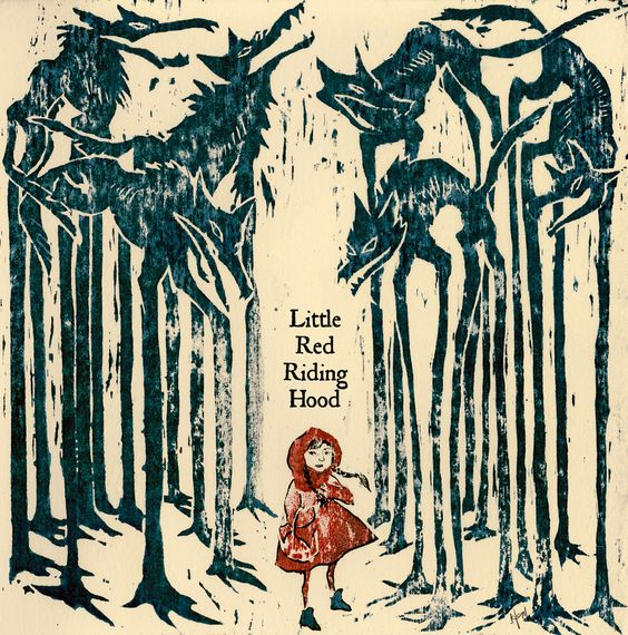 Little Red Riding Hood (Black Forest) (woodblock print).At long last, another dust jacket design (to join The Three Musketeers). I wish I could do one for every book I read!