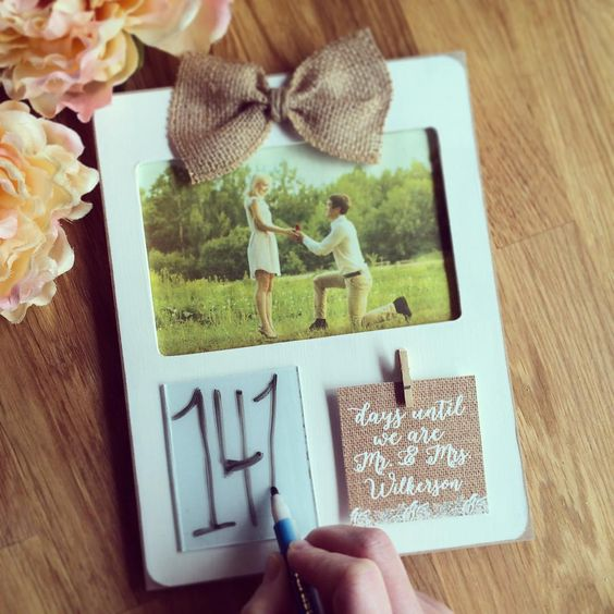 Wedding Countdown Gifts For Bride: Wedding Countdown, Burlap Picture Frames And Burlap