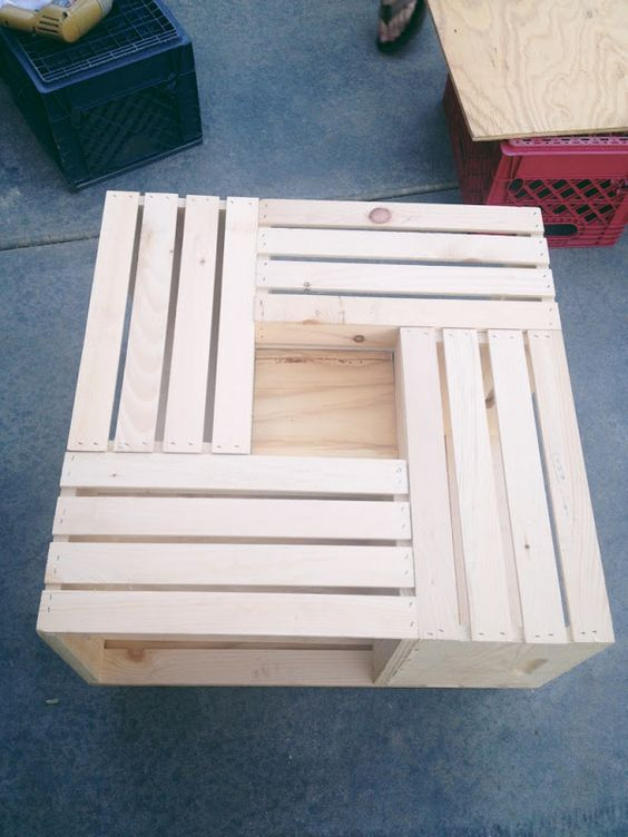 Team gilster diy wood crate coffee table things for for How to make a wooden crate coffee table