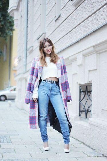 Zara High Waist Skinny Jeans, Wedges Heels, Zara Long Checked Coat, Zara Cropped Top