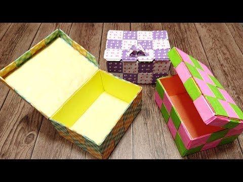 実用使い 4方向つなげるモザイクパーツで作った かなり丈夫なふた付きの長方形の箱 Youtube 折り紙 箱 折り紙の箱 折り紙 作り方