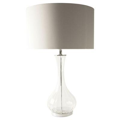 Salt and Pepper - MOOD 68CM CLEAR GLASS BASE TABLE LAMP W/RND WHITE SHADE