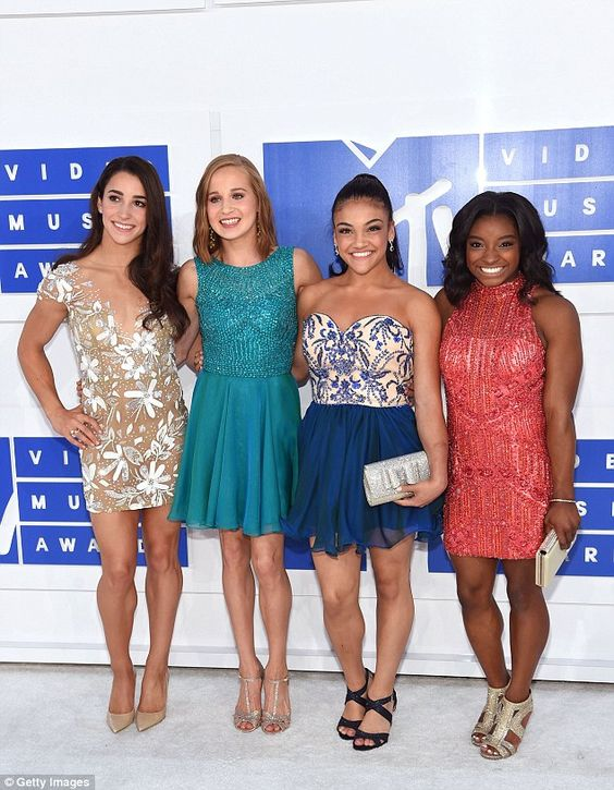 Golden girls! Olympic gymnasts (from left to right) Aly Raisman, Madison Kocian, Laurie Hernandez and Simone Biles attend the 2016 MTV VMAs at Madison Square Garden