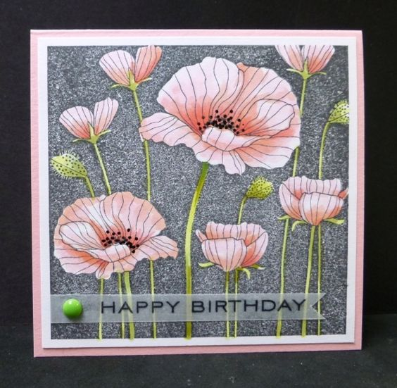 CC425 Pink Poppies by hobbydujour - Cards and Paper Crafts at Splitcoaststampers