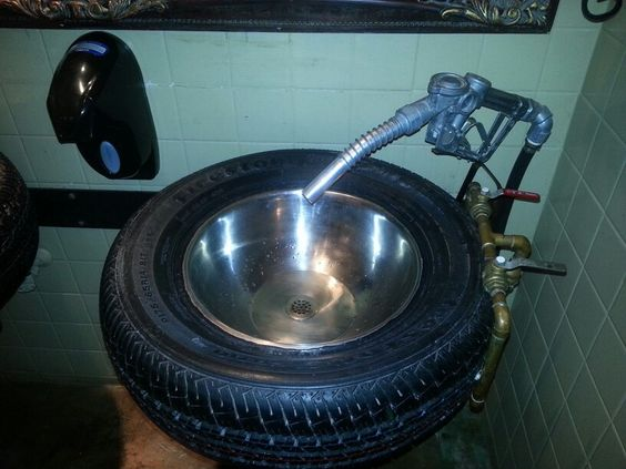 Tire Sink With Gas Nozzle Faucet Perfect For A Garage Or