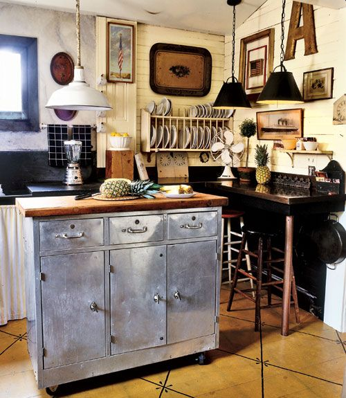 Get Creative  A steel cabinet easily converts into a kitchen island by replacing the top with a section of old butcher block and adding wheels.    Read more: Kitchen Decorating Pictures - Decorating Ideas for Kitchen - Country Living