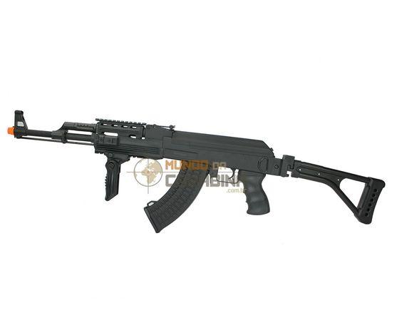 O Rifle de Airsoft AK 47 tático Cyma é uma versão modernizada do AK47 mantendo as mesmas especificações, mudando o guarda-mão por um de polímero com trilhos RIS e a coronha por uma rebatível.