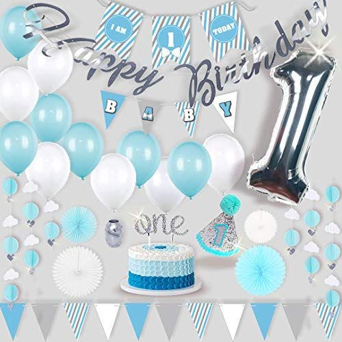 Baby Boy Girl 1st First Birthday Polka dot Balloons I Am One Banner Pink Blue