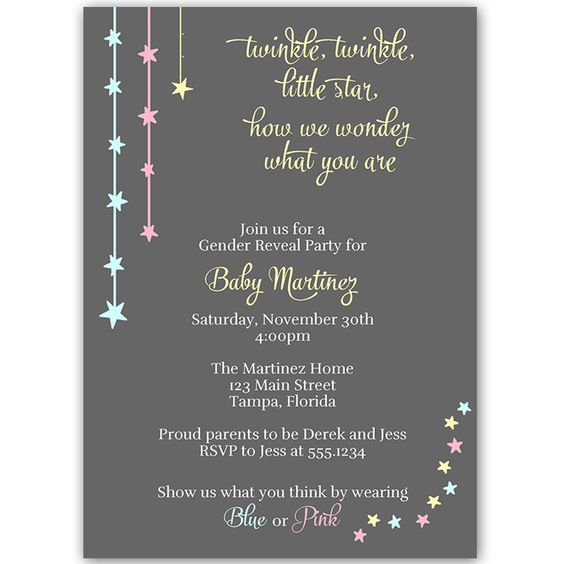Invite guests to your gender reveal party with this blue, pink, and yellow twinkle, twinkle, little star themed invitation.