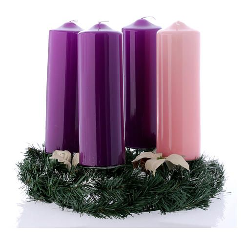 Conjunto Advento Coroa E Velas Brilhantes 8x24 Cm Advento Natal